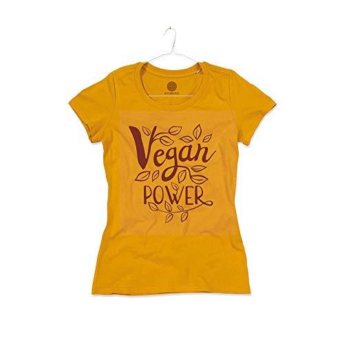 Maglietta Donna Vegan Power Vegana Cotone Biologico Organic Woman T-Shirt Girl (Curry Yellow, M)