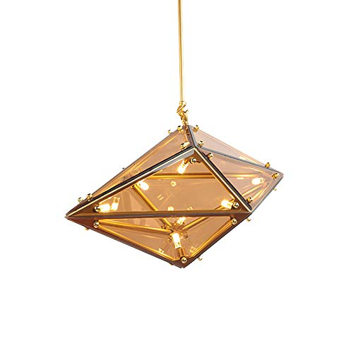 Kitchen Island Mini Loft Pendant Light Nordic Modern Diamond Shape Chandelier 16 Light Creative Cognac Glass Ceiling Light Fixtures For Bar Stairs Hallway-Gold And Cognac-colored Glass 75 * 37cm