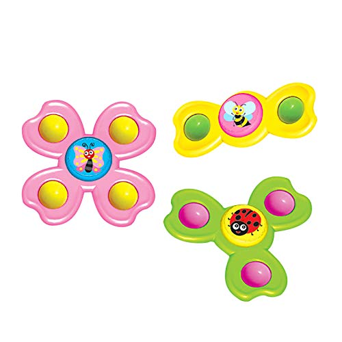 Pageantry 3Pcs Saugnapf Kreisel Spielzeug Cartoon Tier Spin Sucker Kreisel Spielzeug Tisch Sucker Gameplay Frühe Lernen Spielzeug Bad Spielzeug für Baby Kinder