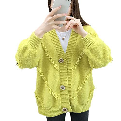 NQING Suéter con Cuello En V De Mujer, Cárdigan De Mujer con Borlas Sueltas, Chaqueta De Jersey De Color Liso