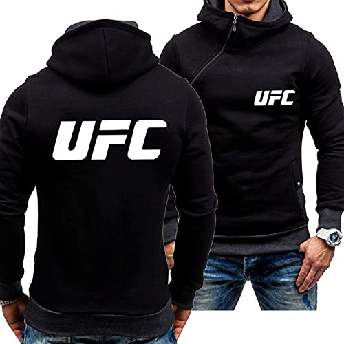 ZYYX Sudaderas con Capucha para Hombre Sudaderas para la Cremallera Oblicua de UFC Moda de Manga Larga Moda Casual Uniforme Adolescentes Marea Abrigos Abrigos de Ropa Exterior Top, Black-Medium