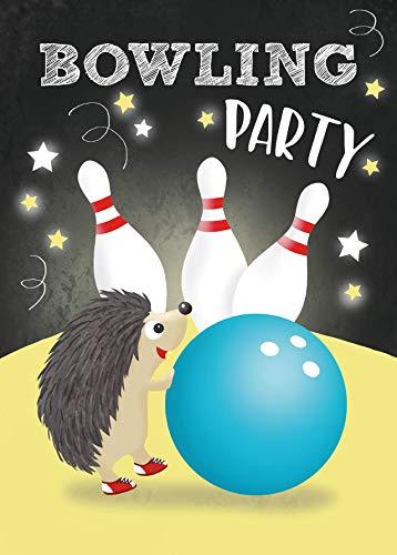 Bowling Einladungskarten für Mädchen und Jungen Kindergeburtstag Bowlingparty Geburtstag Party Einladung Kinder - 10 Karten - 14,8 x 10,5 cm Postkartenformat