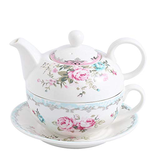 MALACASA Teapot Set,Porcelain Tea Pot Serving Tea Set for One,Blooming & Loose Leaf Teapots,11 Ounce Teapots,8.4 Ounce Teacup and Saucer Set