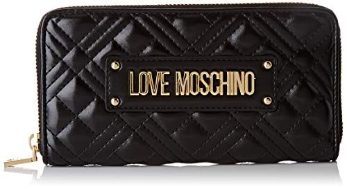 Love Moschino PORTAF.Quilted Nappa PU, Portafogli Donna, Nero, Normale