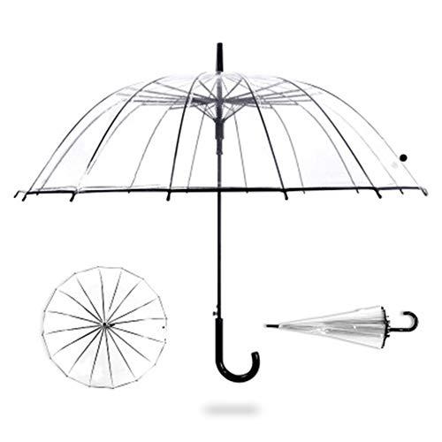 ZQQ Transparenter Regenschirm Mit 16 Geraden Glasfaserstangen, Groß, Winddicht - Schwarz Für Kinderhochzeitsfrauen