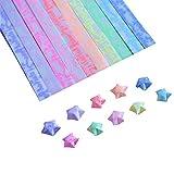 Estrella de Origami,Estrella de Origami de Papel de Colores Arte Hecho a Mano DIY Origami 600 Hojas de 10 Colores (Brillar en la Oscuridad)
