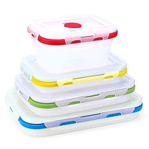 Zusammenklappbare Silikon-Aufbewahrungsboxen, wiederverwendbar, isolierte Aufbewahrungsboxen, Bento Lunchboxen, Set von 4 verschiedenen Kapazitäten, BPA-frei, ofen- und mikrowellenfest (Transparente)