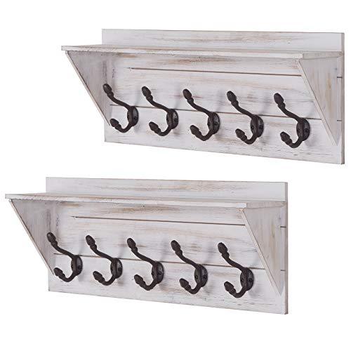 Set of 2 Coat Rack Shelf Wall Mounted 5 Hooks Wooden Rack Decorative for Bathroom, Bedroom, Kitchen, Mudroom, White …