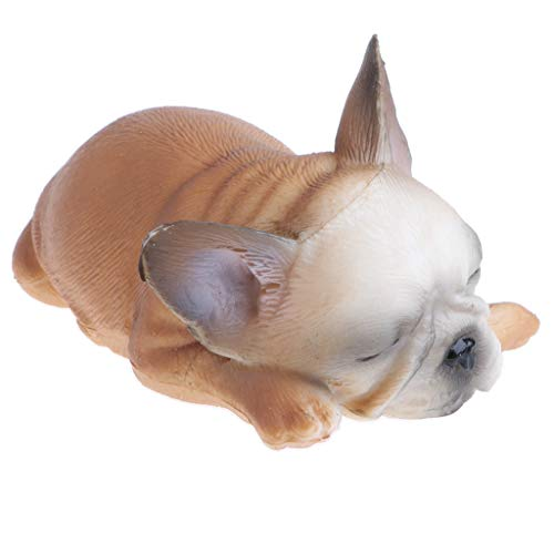 D DOLITY Mini Bulldogge Dekofigur Gartenfigur Hund Modell Tierfigur als Geschenk, aus Plastik