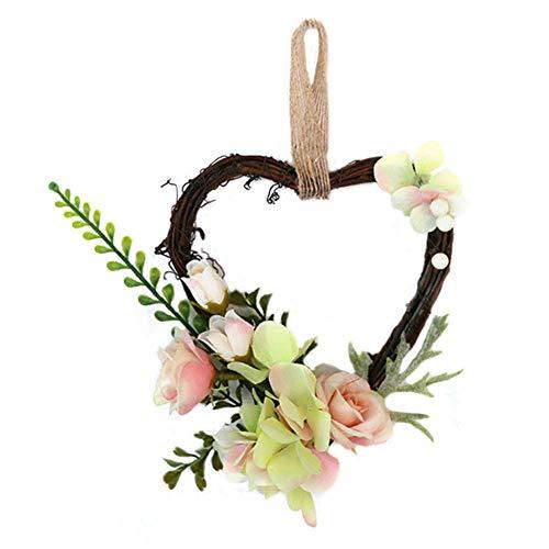 LIJUMN Decorazione A Forma di Ghirlanda A Forma di Cuore, Pendente in Rattan, Decorazione Domestica per Matrimoni