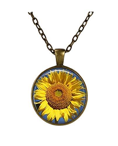 Halskette mit Sonnenblumen-Anhänger, Blumen-Schmuck, Glas-Fliesen, Gelb, Schmuck