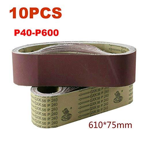 JINYIWEN Schuurband 10 Stks 610 * 75mm Schuurband Schuurscherm Riem Schuren Polijstmachine Papier 40 600 Girt SchuurbandP60