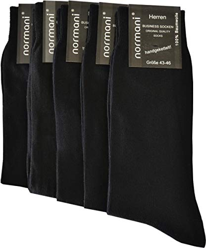 normani 20 Paar Herren Business Socken 100% Baumwolle Arztsocken Apothekersocken Weiss Kochfest - Top Qualität Farbe Schwarz Größe 43-46