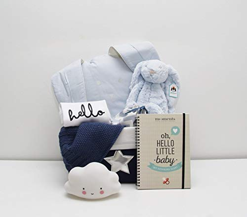 Coffret cadeau de naissance pour bébé/Cool Baby -Body manches longues et 7 cadeaux originaux pour bébé + panier de rangement bleu avec étoile