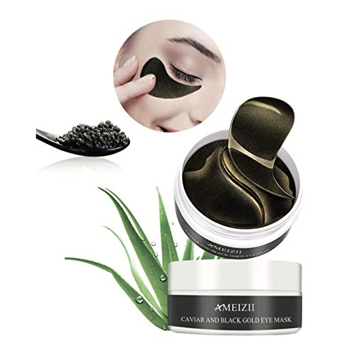 Máscara para los ojos de extracto de caviar negro anti-envejecimiento. Parches para los ojos pro-colágeno. Máscara para los ojos anti-ojeras, bolsas, patas de gallo e hinchazón. 60 Unidades.