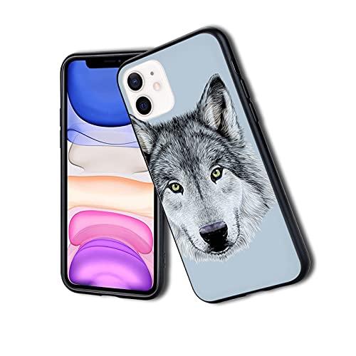 Wolf Ritratto con bellissimo sguardo Sublime Animali Illustrazione Canine Beast,Custodia per iPhone antiurto antiurto a doppio strato