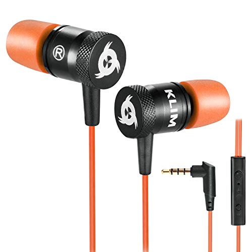 KLIM Fusion Auricolari con Microfono + Audio di Alta qualità + Cuffie di Lunga Durata con Memory Foam + Garanzia 5 Anni - Jack 3.5 mm per iOS Android PC Console + Nuova Versione 2021 + Arancione