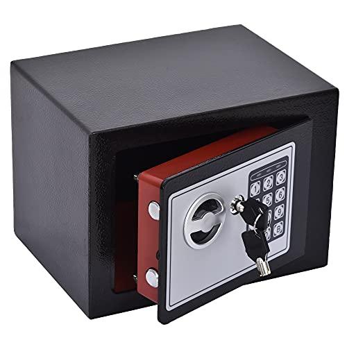 HOMCOM Mini Cassaforte Elettronica con Combinazione e Chiavi di Emergenza, in Acciaio...