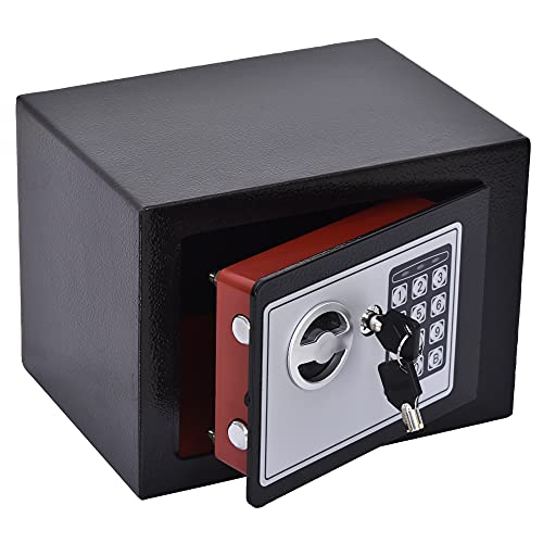 HOMCOM Mini Cassaforte Elettronica con Combinazione e Chiavi di Emergenza, in Acciaio con Fissaggio a Muro, 23x17x17cm Nero