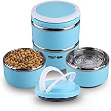 YOUTHINK Travel Dog Bowl Stainless Steel Fit Water and Feed Bowl Portable Spill Proof Pet Bows Multiple Layers Pet Water Food Storage Container with Handle for Dog Cats Outdoor Traveling