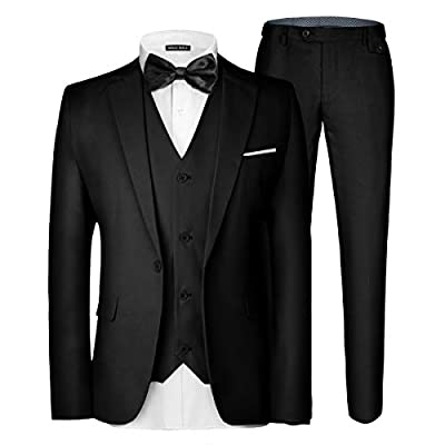 MAGE MALE Men's 3 Pieces Suit Elegant Solid One Button Slim Fit Single Breasted Party Blazer Vest Pants Set Black from MAGE MALE