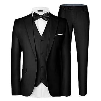 MAGE MALE Men s 3 Pieces Suit Elegant Solid One Button Slim Fit Single Breasted Party Blazer Vest Pants Set Black