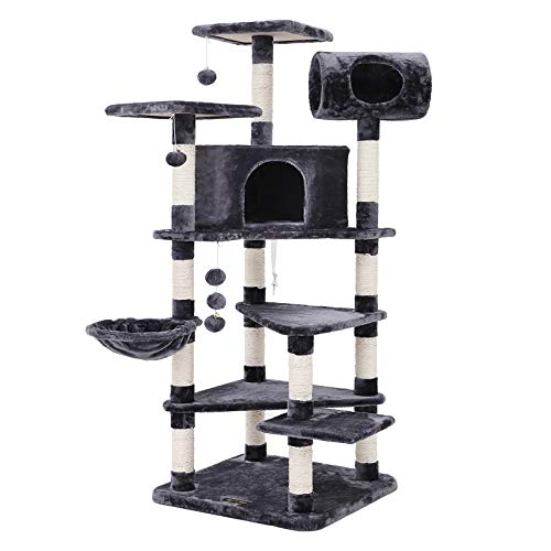 FEANDREA Multi-level Large Cat Tree Cat Furniture Cat Play House Smoky Grey PCT17G