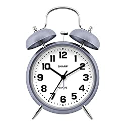 Sharp Twin Bell Alarm Clock - Loud Alarm - Great for Heavy Sleepers - Battery Operated Quartz Analog Clock, Lavender