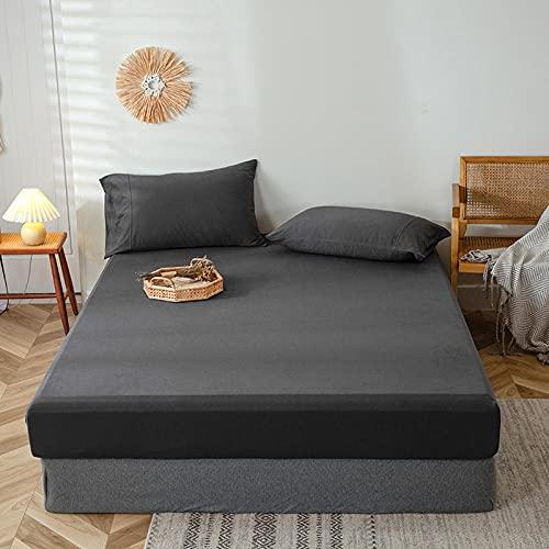 FFLDM Cubre colchón,Sábanas bajeras 100% algodón de Color sólido para Hombre, Protectores de colchón Antideslizantes Individuales y Dobles-B_150 * 200 + 25cm