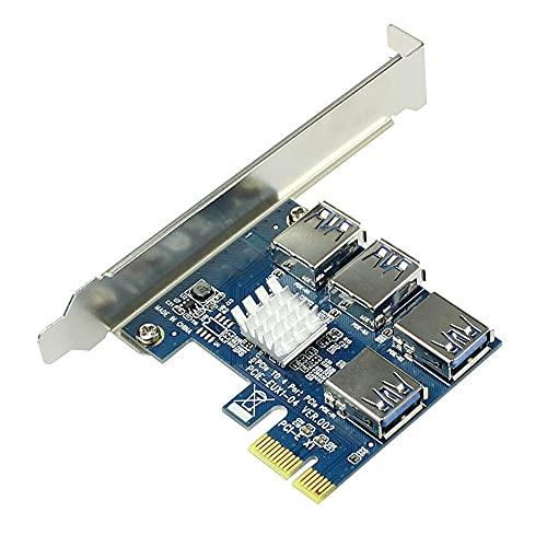 SOOBE PCI-E 1 a 4 PCI-E Adaptador 4 PCI-e Ranura Adaptador PCIe Multiplicador Tarjeta para Bitcoin Miner 16X ranuras Riser Card PCI-E 1X a externo