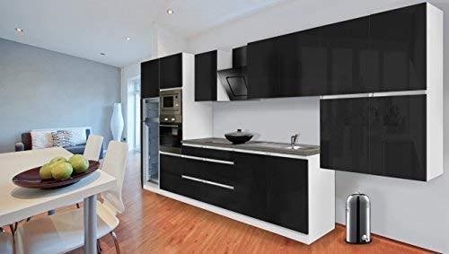 respekta Premium aneks kuchenny bez uchwytów kuchnia 435 cm biały czarny wysoki połysk wraz z systemem Softclose/lodówko-zamrażarka 144 cm i płytą ceramiczną