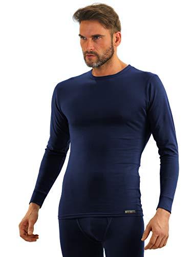 Sesto Senso® Herren Langarm Unterhemd Dunkelblau Baumwolle Funktionsunterhemd mit Rundhalsausschnitt Funktionsshirt Thermo Unterwäsche Winter (XL, Dunkelblau)