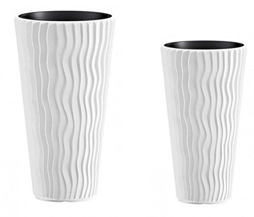 Kreher Pflanztopf Set Wave: 1 XXL (39 x 71) und 1 XL (30 x 52) cm Kübel mit herausnehmbarem Einsatz. In moderner Wellen Optik, in Weiß. UV- und frostbeständig.