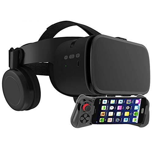 Bias&Belief VR-Brille mit Gamepad,Virtual Reality 3D Brille für 4,7-6,5 Zoll Smartphone,VR Headset für Kinder und Erwachsene,für Die Besten Handyspiele,Schwarz,1