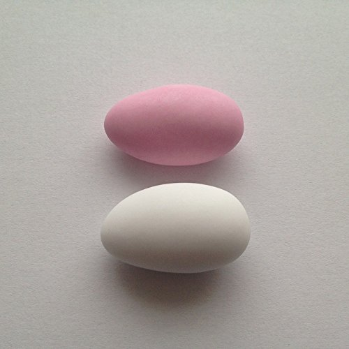 Premium Weddings Taufmandeln 1 kg hellblau/weiß, rosa/weiß, hellblau/rosa gemischt (für Mind. 65 Gäste) - Gastgeschenke Taufe Bonboniere Kommunion Zuckermandeln Konfirmation, Farbe:matt - weiß & rosa