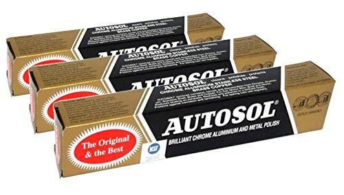 Autosol 3er Packung Metall Politur (75ml x3) für Chrom Alu Edelstahl Messing Kupfer Usw