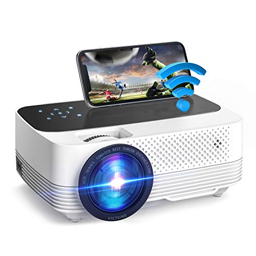 VicTsing Videoproiettore Portatile Mini 6000LUX, Proiettore 1080P Supporta, Mini Proiettore Wireless Home Cinema Portatile iOS/Android/Laptop/TV/PS4