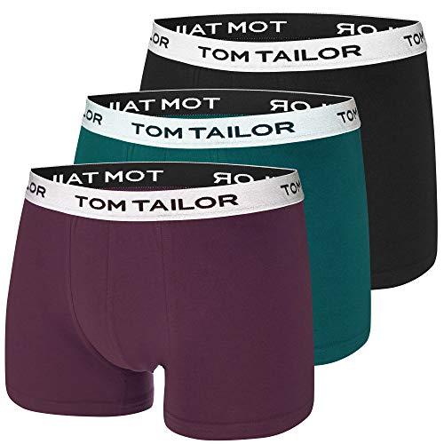 TOM TAILOR Boxershorts | 3 Stück | sportlich bequem weich | toll für Weihnachten + Geburtstag (L | 6, schwarz | grün | Bordeaux)