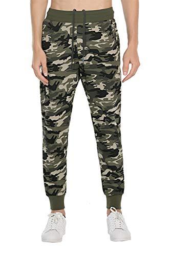 Extreme Pop Hombre Pantalones de chándal con Estampado Reflectante de Camuflaje (XL, Verde Camuflaje)