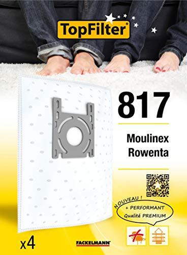 TopFilter 817, 4 sacs aspirateur pour Moulinex et Rowenta boîte de sacs d'aspiration en non-tissé, 4 sacs à poussière (30 x 26 x 0,1 cm)