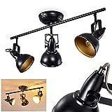 Lámpara de techo Tina, de metal en negro/oro, de 3 llamas, con focos regulables, 3 tomas E14 máx. 40 W, focos en diseño retro/vintage, apta para fuentes de luz LED