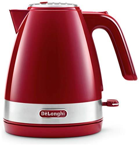 De'Longhi KBLA 2000.R Elektrischer Wasserkocher, Fassungsvermögen 1 l, Basis aus Kunststoff und Abdeckung aus Edelstahl, 1 Liter, rot