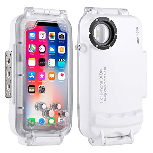 Haweel iPhone X/XS Underwater Housing Professional [40m/130ft] Diving Case for Diving Surfing Swimming Snorkeling Photo Video with Lanyard (iPhone X/XS, White)