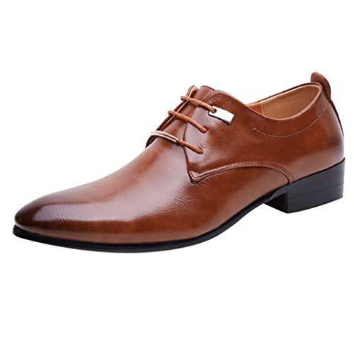 MMOOVV Herren Lederschuhe, Mode Herren Business Schuhe geeignet für Vater Ehemann Freunde lässig Schuhe Hochzeitsanzug Schuhe (Braun 45EU)