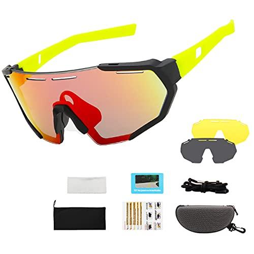 Gafas De Ciclismo Para Jóvenes Gafas Polarizadas Para Patinaje De Velocidad Para Niños Gafas De Sol Anti-ultravioleta Deporte Al Aire Libre MTB Bicicleta De Carretera Gafas Polarizad(Color:Amarillo B)