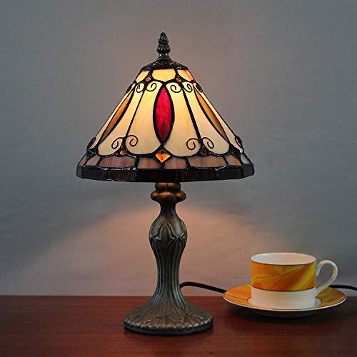 8 pulgadas creativo vidriera pastoral retro lámpara de mesa