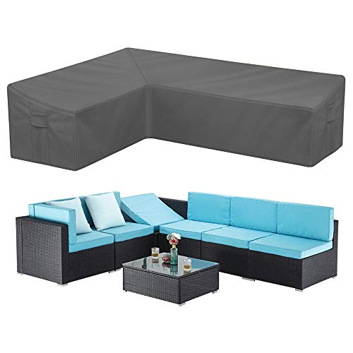 STARTWO Outdoor L Shaped Sectional Sofa Cover, Waterproof Anti UV 104 Inch Patio Furniture Cover Sectional Couch Protector with Water Resistant Glue Strip Windproof Straps (Left Facing-Gray)