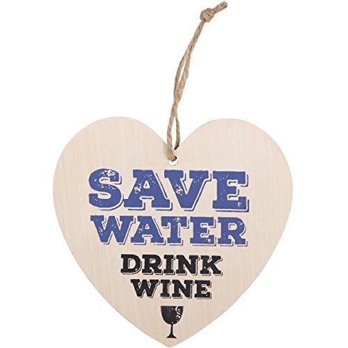 Something Different Herz-Schildchen zum Aufhängen, Aufschrift Save Water Drink Wine (Einheitsgröße) (Bunt)
