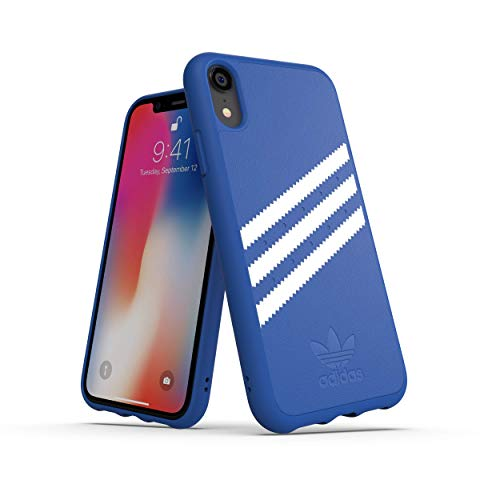 Adidas Moulded Suede - Custodia per Apple iPhone XR, colore: Blu/Bianco