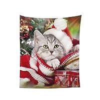 クリスマス猫 壁掛けタペストリ インテリア飾り 壁飾り おしゃれ 模様替え 年中使用 130x150cm
